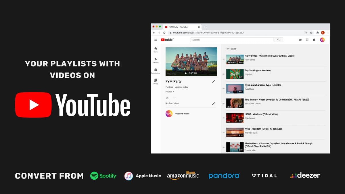 get your music playlist on youtube - convert from spotify, apple music, amazon music, pandora, tidal, deezer and more